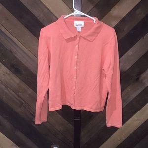 Orange button up with collar women's